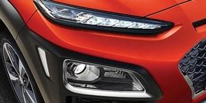 Hyundai Kona ainulaadsed kahekordsed täis-LED-esituled ja LED-päevatuled.