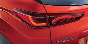 Hyundai Kona voolujoonelised LED-tagatuled.